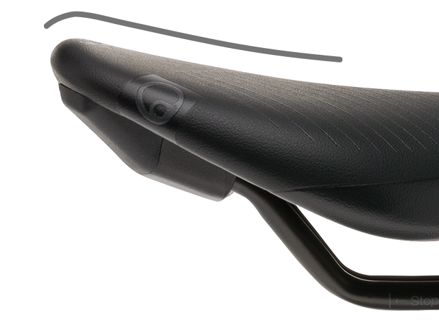 Ergon SR Men saddle with supporting ramp in the rear of the saddle.