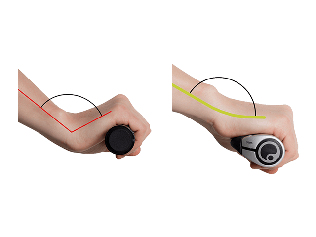 If the wrist is bent too much, the carpal tunnel is jammed. The solution is provided by the wing grip: it optimally aligns the wrist and thus stretches the carpal tunnel.