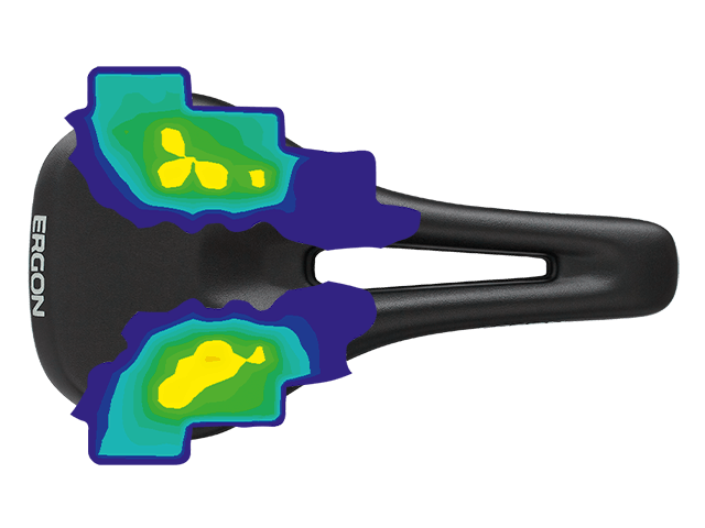 Picture about pressure distribution of the Ergon SR Women saddle.