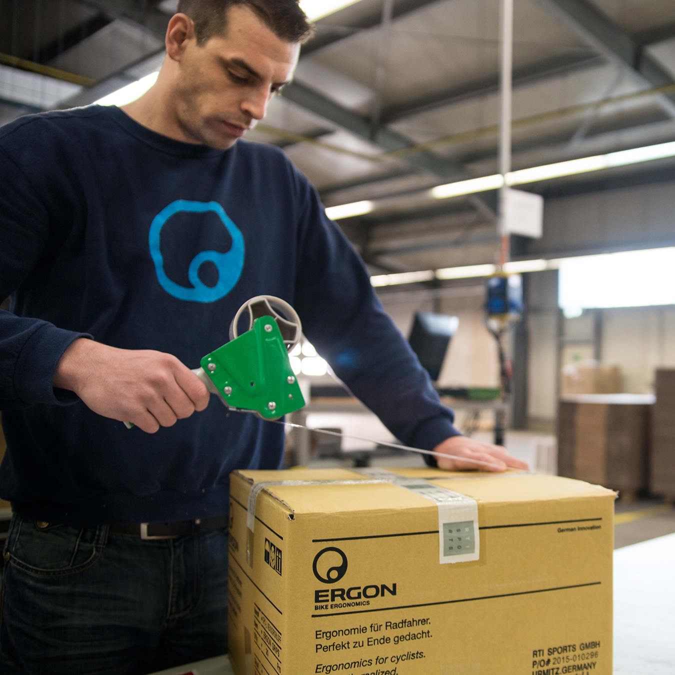 A package from Ergon getting prepared for shipping.