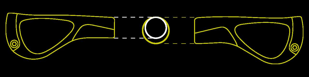 Schematischer Vergleich der beiden Griffgrößen.